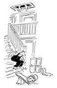 (A builder makes a see-saw out of a plank and a bucket and jumps on one end to send loft insulation up the stairs)
