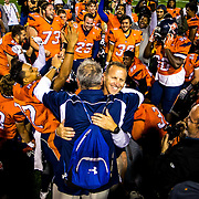 Orange Coast College Kevin Emerson celebrates with his team after their victory over Golden West College on November 6, 2015. Photo by Marty McCrory / SportsShooter Academy