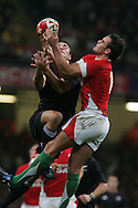 Lee Byrne of Wales collects a high ball. Invesco Perpetual series 2008 autumn international match, Wales v New Zealand at the Millennium Stadium on Sat 22nd Nov 2008. pic by Andrew Orchard, Andrew Orchard sports photography,