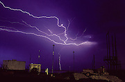 Cape Canaveral, Florida. Natural lightning and experimental lightning rods from Australia being tested at Cape Canaveral, Florida. 1991.