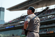 Adam Dunn #32 of the Chicago White Sox waits on-deck during a game against the Minnesota Twins on September 16, 2012 at Target Field in Minneapolis, Minnesota.  The White Sox defeated the Twins 9 to 2.  Photo: Ben Krause