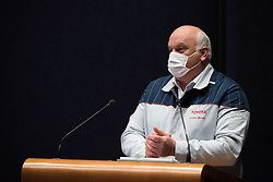 Toyota Valenciennes chariman Luciano Biondo speaks to the press on May 7, 2020 in Onnaing, France during COVID-19 crisis. The Toyota factory opened a sewing room to create protective masks inside the hall of the factory with future employees in partnership with the resilience project. Photo by Julie Sebadelha/ABACAPRESS.COM