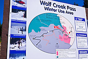 Winter use area sign on Wolfe Creek Pass, Rio Grande National Forest, Colorado