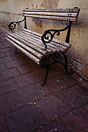 Old wooden street bench