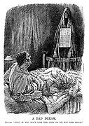 """A Bad Dream. Spectre. """"Well, if you don't like the look of me, eat less bread."""" (a ghostly monster appears at the foot of John Bull's bed with Bread Ticket - Prussian Model around his neck during WW1)"""