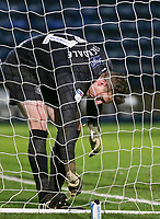 Wycombe Wanderers' David Stockdale untangles his boot from the net<br /> <br /> Photographer Lee Parker/CameraSport<br /> <br /> The EFL Sky Bet League One - Wycombe Wanderers v Blackpool - Tuesday 28th January 2020 - Adams Park - Wycombe<br /> <br /> World Copyright © 2020 CameraSport. All rights reserved. 43 Linden Ave. Countesthorpe. Leicester. England. LE8 5PG - Tel: +44 (0) 116 277 4147 - admin@camerasport.com - www.camerasport.com