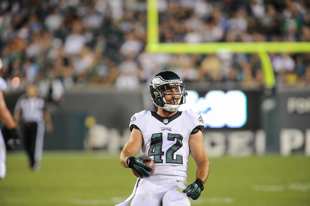 Philadelphia Eagles free safety Chris Maragos (42) during the game against the New York Jets at Lincoln Financial Field on Aug 28, 2014 in Philadelphia, Pa. (Photo by John Geliebter/Philadelphia Eagles