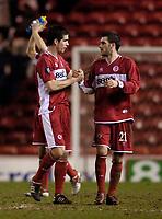 Photo: Jed Wee.<br /> Middlesbrough v Stuttgart. UEFA Cup. 23/02/2006.<br /> <br /> Middlesbrough's Stuart Parnaby (R) celebrates with Chris Riggott.
