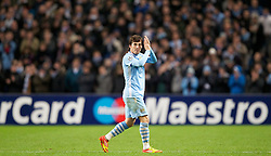 07.12.2011, City of Manchester Stadion, Manchester, ENG, UEFA CL, Gruppe A, Manchester City (ENG) vs FC Bayern München (GER), im Bild Manchester City's David Silva walks off the pitch during the UEFA Champions League Group A match against FC Bayern Munchen at the City of Manchester Stadium during the football match of UEFA Champions league, group A, between Manchester City (ENG) and FC Bayern München (GER), at City of Manchester Stadium, Manchester, United Kingdom on 07/12/201. EXPA Pictures © 2011, PhotoCredit: EXPA/ Propaganda/ David Rawcliff..***** ATTENTION - OUT OF ENG, GBR, UK *****
