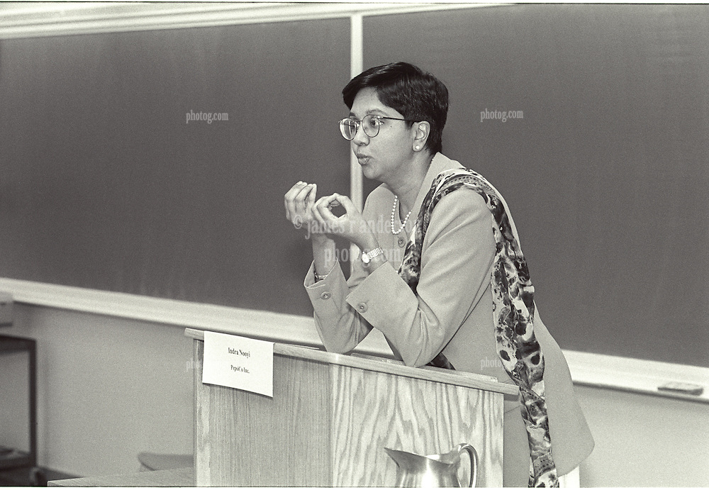 """Indra K. Nooyi, Chairman and Chief Executive Officer, PepsiCo. speaking at """"Women in Business in a Global Economy"""" Yale School of Management Syposium 4 April 1997"""
