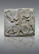 Hittite relief sculpted orthostat stone panel of Herald's Wall Basalt, Karkamıs, (Kargamıs), Carchemish (Karkemish), 900-700 B.C. Anatolian Civilisations Museum, Ankara, Turkey.<br /> <br /> On the right is a bearded human figure with a short skirt; with the dagger in his right hand, he is stabbing the lion standing on his front legs while holding the lion's tail with his left hand. On the left is a bearded god figure with a horned-headdress, who grasps the lion's hind leg while holding the ax over his head with his right hand. .<br />  <br /> If you prefer to buy from our ALAMY STOCK LIBRARY page at https://www.alamy.com/portfolio/paul-williams-funkystock/hittite-art-antiquities.html  - Type  Karkamıs in LOWER SEARCH WITHIN GALLERY box. Refine search by adding background colour, place, museum etc.<br /> <br /> Visit our HITTITE PHOTO COLLECTIONS for more photos to download or buy as wall art prints https://funkystock.photoshelter.com/gallery-collection/The-Hittites-Art-Artefacts-Antiquities-Historic-Sites-Pictures-Images-of/C0000NUBSMhSc3Oo
