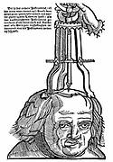 Trephination: Using an elevator to remove piece of bone from the skull. Woodcut from Hans von Gersdorf 'Veldt Boeck van den Chirugia Scheel-Hans',  Amsterdam 1593. Woodcut from 1517 Strasbourg edition