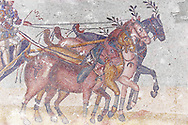Chariot racing at the Circus Maximus. Roman mosaics at the Villa Romana del Casale which containis the richest, largest and most complex collection of Roman mosaics in the world. Constructed in the first quarter of the 4th century AD. Sicily, Italy. A UNESCO World Heritage Site. .<br /> <br /> If you prefer to buy from our ALAMY PHOTO LIBRARY  Collection visit : https://www.alamy.com/portfolio/paul-williams-funkystock/villaromanadelcasale.html<br /> Visit our ROMAN MOSAICS PHOTO COLLECTIONS for more photos to buy as buy as wall art prints https://funkystock.photoshelter.com/gallery/Roman-Mosaics-Roman-Mosaic-Pictures-Photos-and-Images-Fotos/G00008dLtP71H_yc/C0000q_tZnliJD08