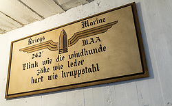 "24.06.2016, Audinghen, FRA, Museum der Batterie Todt am Atlantikwall, im Bild Punker Innenansicht, mit einem Bild mit der Aufschrift ""flink wie die windhunde, zähe wie leder und hart wie kruppstahl"" // The Todt Battery is a battery of coastal artillery built by the Germans in World War II. It was one of the most important coastal fortifications of the Atlantic Wall, and consisted of four 380 mm calibre Krupp guns with a range up to 55.7 km, capable of reaching the British coast, and each protected by a bunker of reinforced concrete, Audinghen, France on 2016/06/24. EXPA Pictures © 2016, PhotoCredit: EXPA/ JFK"