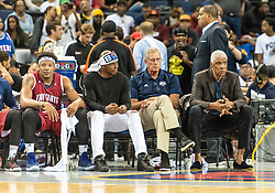 July 6, 2018 - Oakland, CA, U.S. - OAKLAND, CA - JULY 06: Head coach Julius ''Dr.J'' Erving of Tri-State watches his team during game 3 in week three of the BIG3 3-on-3 basketball league on Friday, July 6, 2018 at the Oracle Arena in Oakland, CA (Photo by Douglas Stringer/Icon Sportswire) (Credit Image: © Douglas Stringer/Icon SMI via ZUMA Press)