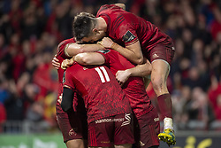 December 30, 2018 - Limerick, Ireland - Keith Earls of Munster celebrates scoring with Mike Haley, Conor Murray and Andrew Conway during the Guinness PRO14 match between Munster Rugby and Leinster Rugby at Thomond Park in Limerick, Ireland on December 29, 2018  (Credit Image: © Andrew Surma/NurPhoto via ZUMA Press)