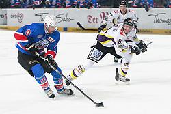 07.10.2011, Arena Nuernberger Versicherungen, Nuernberg, GER, DEL, Ice Tigers Nürnberg / Nuernberg vs Krefeld Pinguine, im Bild:.Eric Chouinard (Nuernberg #16) gg Roland Verwey (Krefeld #81).// during the Match GER, DEL, Ice Tigers Nürnberg / Nuernberg vs Krefeld Pinguine on 2011/10/07, Arena Nuernberger Versicherungen, Nuernberg, Germany..EXPA Pictures © 2011, PhotoCredit: EXPA/ nph/  Will       ****** out of GER / CRO  / BEL ******