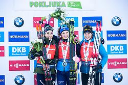 Anais Bescond (FRA), Lisa Vittozzi (ITA), Hanna Oeberg (SWE) celebrating after the Mass Start Women 12,5 km at day 4 of IBU Biathlon World Cup 2019/20 Pokljuka, on January 23, 2020 in Rudno polje, Pokljuka, Pokljuka, Slovenia. Photo by Peter Podobnik / Sportida