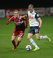 Preston North End's Jayden Stockley in action with  Middlesbrough's George Saville<br /> <br /> Photographer Mick Walker/CameraSport<br /> <br /> The EFL Sky Bet Championship - Preston North End v Middlesbrough - Wednesday 9th December 2020 - Deepdale - Preston<br /> <br /> World Copyright © 2020 CameraSport. All rights reserved. 43 Linden Ave. Countesthorpe. Leicester. England. LE8 5PG - Tel: +44 (0) 116 277 4147 - admin@camerasport.com - www.camerasport.com