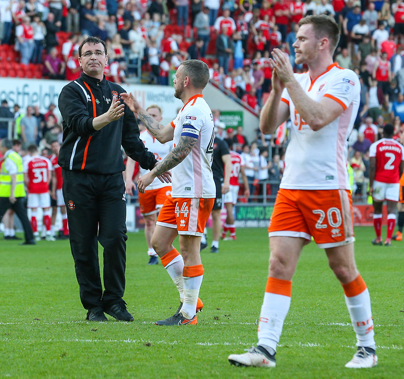 Blackpool manager Gary Bowyer shakes the hand of Jay Spearing after the match<br /> <br /> Photographer Alex Dodd/CameraSport<br /> <br /> The EFL Sky Bet League One - Rotherham United v Blackpool - Saturday 5th May 2018 - New York Stadium - Rotherham<br /> <br /> World Copyright © 2018 CameraSport. All rights reserved. 43 Linden Ave. Countesthorpe. Leicester. England. LE8 5PG - Tel: +44 (0) 116 277 4147 - admin@camerasport.com - www.camerasport.com
