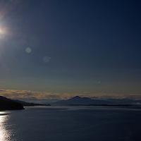 Europe, Norway, Sogn og Fjordane. Summer's midnight sun in Norway.