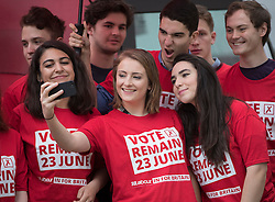 © Licensed to London News Pictures. 10/05/2016. London, UK. Youthful supporters take a selfie before Labour Party leader Jeremy Corbyn and Alan Johnson, Chairman of 'Labour In for Britain' unveiled their EU referendum campaign.  Labour deputy Tom Watson and Gloria De Piero, Shadow Minister for Young People and Voter Registration, also attended. Photo credit: Peter Macdiarmid/LNP