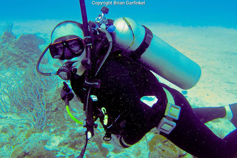 Brian scuba diving in Cozumel, Mexico
