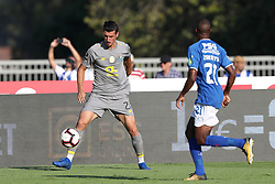 August 19, 2018 - Lisbon, Portugal - Porto's Portuguese forward Andre Pereira (L) vies with Belenenses' defender Zakarya Bergdich of Morocco during the Portuguese League football match Belenenses vs FC Porto at the Jamor stadium in Lisbon on August 19, 2018. (Credit Image: © Pedro Fiuza via ZUMA Wire)