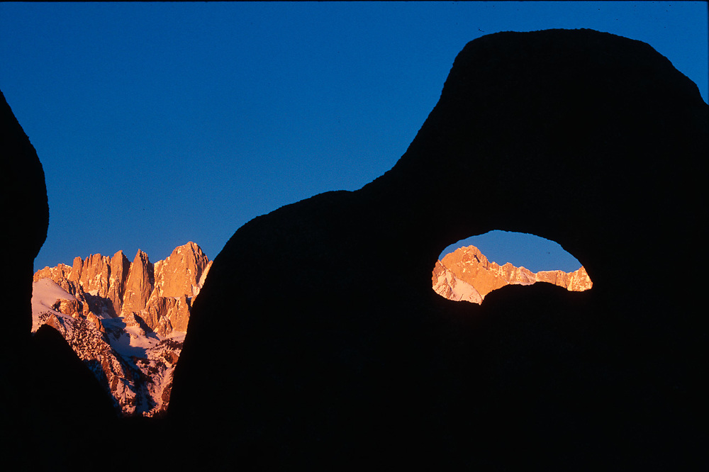 Mount Whitney viewed from Alabama Hills,, morning light, Eastern Sierra Mountains,  Sequoia National Park, California, USA.