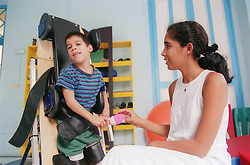 Child with cerebral palsy at the centre for rehabilitation and education of children with disabilities in Havana; Cuba,