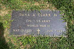 31 August 2017:   Veterans graves in Park Hill Cemetery in eastern McLean County.<br /> <br /> Dana A Clark Jr  Corporal US Army  World War II  May 18 1923  Jun 7 1983