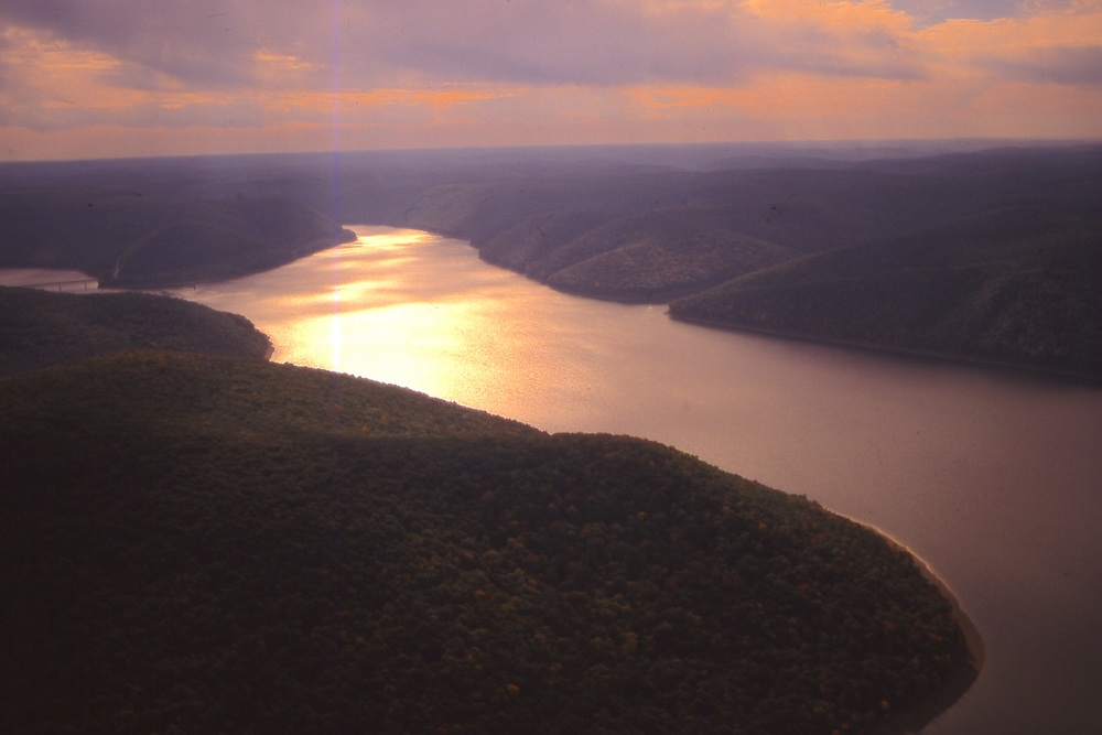 Aerial, Allegheny National Forest, Allegheny Reservoir, sunset, NW Pennsylvania