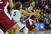 March 18, 2016; Tempe, Ariz;  New Mexico State Aggies guard Tamera William (21) tries to get past Arizona State Sun Devils guard Sabrina Haines (3) during a game between No. 2 Arizona State Sun Devils and No. 15 New Mexico State Aggies in the first round of the 2016 NCAA Division I Women's Basketball Championship in Tempe, Ariz. The Sun Devils defeated the Aggies 74-52.