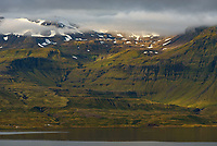 After shooting the sunrise I returned to my campsite at Setburg. This was the view looking across the bay at the mountains above Grundarfjörður.