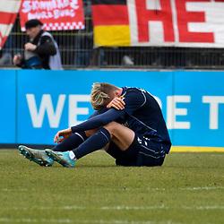 Waldhofs Maurice Deville (Nr.14) am Boden beim Spiel in der 3. Liga, FC Wuerzburger Kickers - SV Waldhof Mannheim.<br /> <br /> Foto © PIX-Sportfotos *** Foto ist honorarpflichtig! *** Auf Anfrage in hoeherer Qualitaet/Aufloesung. Belegexemplar erbeten. Veroeffentlichung ausschliesslich fuer journalistisch-publizistische Zwecke. For editorial use only. DFL regulations prohibit any use of photographs as image sequences and/or quasi-video.