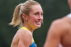 Jenna Westaway of Brooks Canada reacts to her win in women's 800