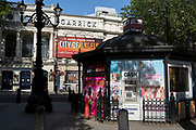The Garrick Theatre and a ticket kiosk on Charing Cross Road remain closed on the day that UK Prime Minster, Boris Johnson announced in parliament a major easing of Coronavirus pandemic restrictions on July 4th next week, including the re-opening of pubs, restaurants, hotels and hairdressers in England, on 23rd June 2020, in London, England. The three month two metre social distance will be also reduced to one metre plus but in the last 24hrs, a further 171 have died from Covid, bringing the UK total to 42,927.