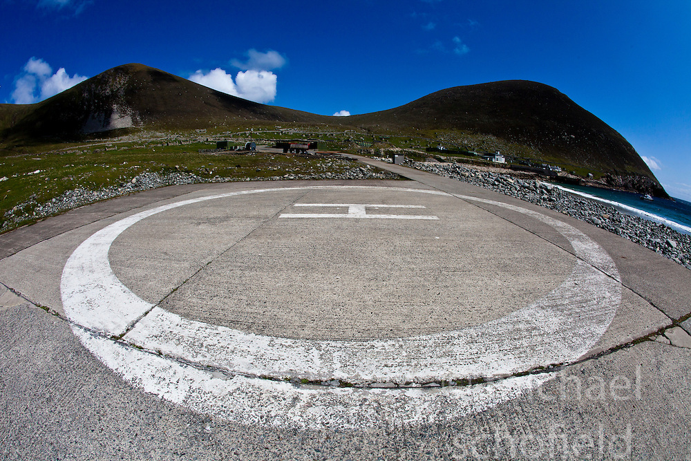 Conachair and Oiseval with the 'International Sea & Airport Lounge' helipad on Hirta, the largest island of the St Kilda archipelago, west-northwest of North Uist in the North Atlantic Ocean. It is one of Scotland's five World Heritage Sites..©Michael Schofield..