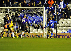 Birmingham City's Chris Burke scores - Photo mandatory by-line: Joe Meredith/JMP - Tel: Mobile: 07966 386802 14/01/2014 - SPORT - FOOTBALL - St Andrew's Stadium - Birmingham - Birmingham City v Bristol Rovers - FA Cup - Third Round