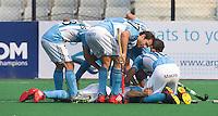 NEW DELHI - Vreugde bij Argentinie tijdens de  poulewedstrijd in de finaleronde van de Hockey World League tussen de mannen van Argentinie en Belgie. Foto  KOEN SUYK
