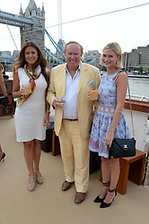 The Johnnie Walker Blue Label and David Gandy Drinks Reception aboard John Walker & Sons Voyager, St.Georges Stairs Tier, Butler's Wharf Pier, London, UK on 16th July 2013.<br /> Picture Shows:-Susan Nilsson, Andrew Neil and Pandora Sykes.