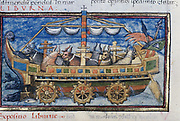 Illustration of an ox-powered paddle-wheel boat.  Fifteenth century manuscript based on a description in  4th century anonymous  Roman military treatise on war machines 'De Rebus Bellicis'.