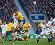 Twickenham, United Kingdom. {R} Chris ROBSHAW, set's himself for the Marland YARDE deflected ball,  during the Old Mutual Wealth Series Rest Match: England vs Australia, at the RFU Stadium, Twickenham, England, <br /> <br /> Saturday  03/12/2016<br /> <br /> [Mandatory Credit; Peter Spurrier/Intersport-images]