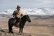 Kazakh eagle hunter<br /> Mongolia's largest ethnic minority<br /> Altai Mountains<br /> Western Mongolia