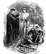 Alas, poor Yorick! I knew him, Horatio' Hamlet in the graveyard with Horatio and the clown, examines Yorick's skull. William Shakespeare's 'Hamlet': Act V Sc I . Engraving published London c1850