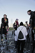 The stilt group are discussing if its time to end the blockade or not.<br /> <br /> Crude Oil Awakening is a coalition of climate change activist groups. On Saturday Oct 16 they shut the only entrance to Coryton oil refinery in Essex, UK with the aim of highlighting the issues of climate change and the burning of fossil fuels. The blockade meant that a great number of trucks with oil were not able to leave the refinary during the day of action.