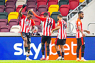 GOAL 1-0 Brentford forward Ivan Toney (17) scores and celebrates with a dance with Brentford forward Josh Dasilva (14) during the EFL Sky Bet Championship match between Brentford and Coventry City at Brentford Community Stadium, Brentford, England on 17 October 2020.