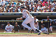 Chris Parmelee #27 of the Minnesota Twins connects for a double against the Seattle Mariners on June 2, 2013 at Target Field in Minneapolis, Minnesota.  The Twins defeated the Mariners 10 to 0.  Photo: Ben Krause