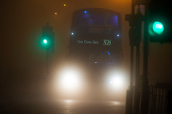 © Licensed to London News Pictures. 27/11/2020. <br /> New Eltham, UK. A bus in the fog New Eltham, London. Freezing foggy weather conditions this Friday morning across large parts of the UK.    Photo credit:Grant Falvey/LNP