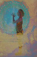This is my bubble-it expands and rotates and offers clarity and connection. Namaste dear Universe I see and hear and feel your pulse in my own being. Woman demonstrating yoga poses and experiencing the spirit of joyfulness.